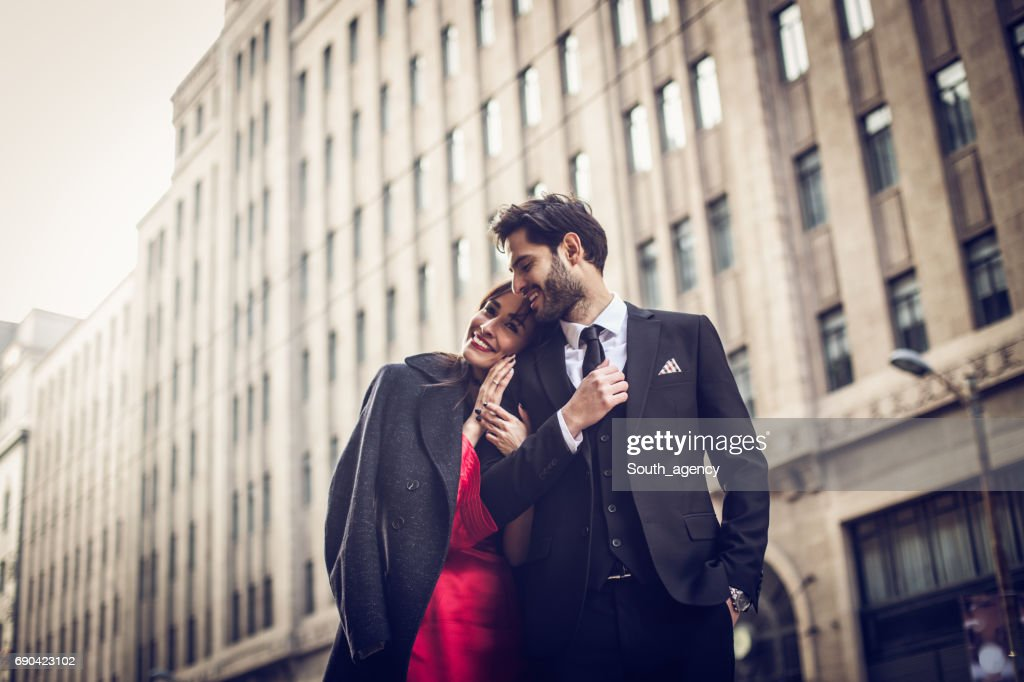 Cute couple on the street : Stock Photo