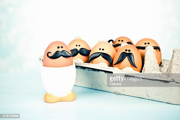 Cute egg heads with mustaches. Movember theme