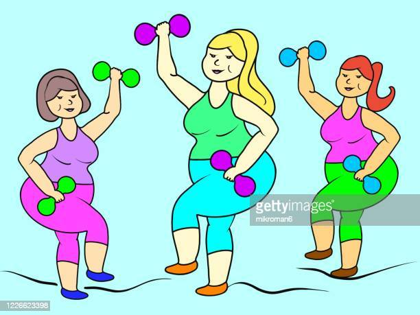 cute fat ladies doing sport - sexy drawing stock pictures, royalty-free photos & images