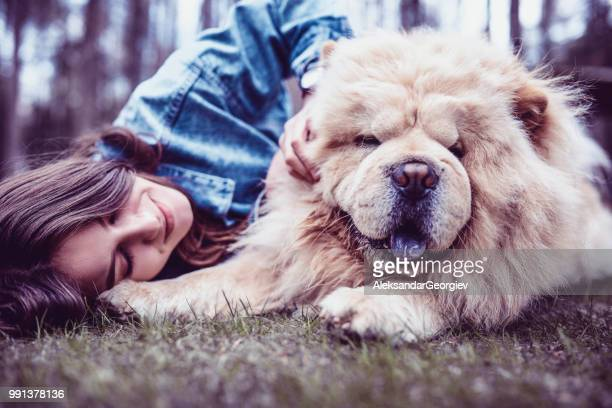 cute female playing with pet chow chow puppy - chow dog stock pictures, royalty-free photos & images