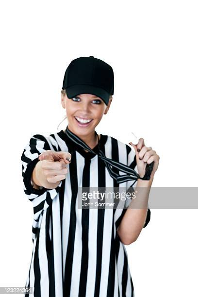 cute female referee selective focus on her finger - female umpire stockfoto's en -beelden