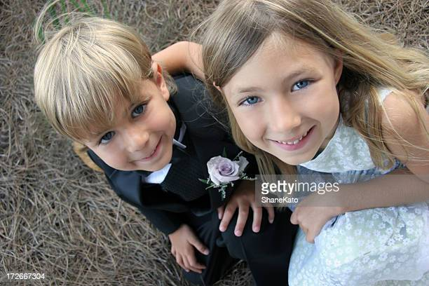 cute flower girl and ring bearer at a wedding - ring bearer stock pictures, royalty-free photos & images