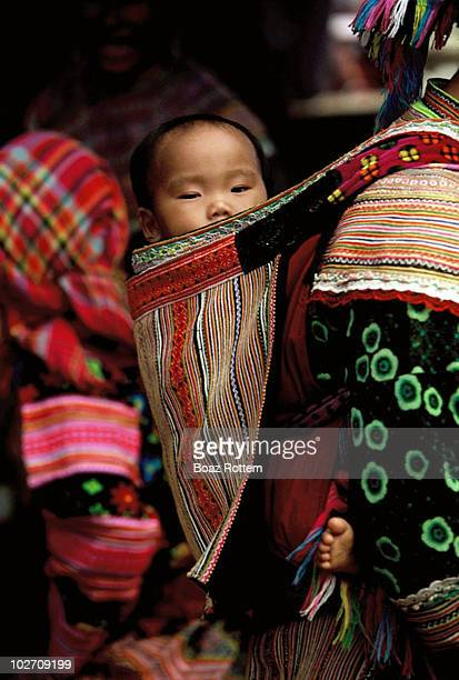 Cute flower Hmong baby spends his morning on his mother's back. The Hmong people migrated from China to Vietnam and Laos.