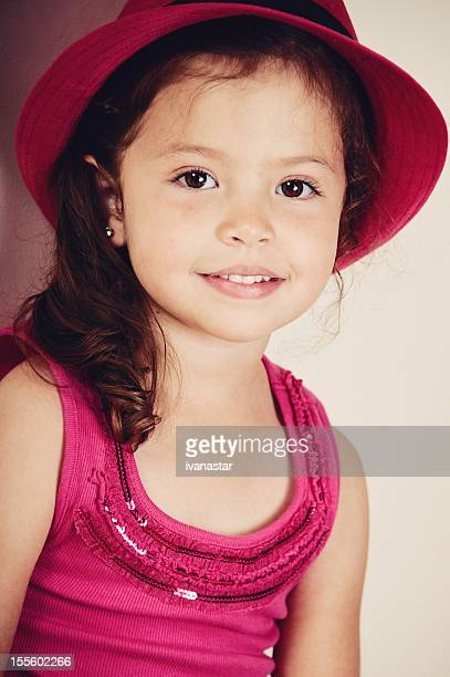 cute four year old girl with red hat, ethnic look - beautiful mexican girls stock photos and pictures