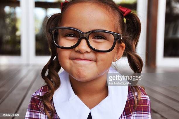 cute geeky girl - girl nerd hairstyles stock photos and pictures
