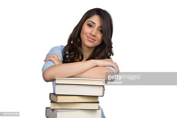 cute girl and stack of books - hot teacher stock pictures, royalty-free photos & images