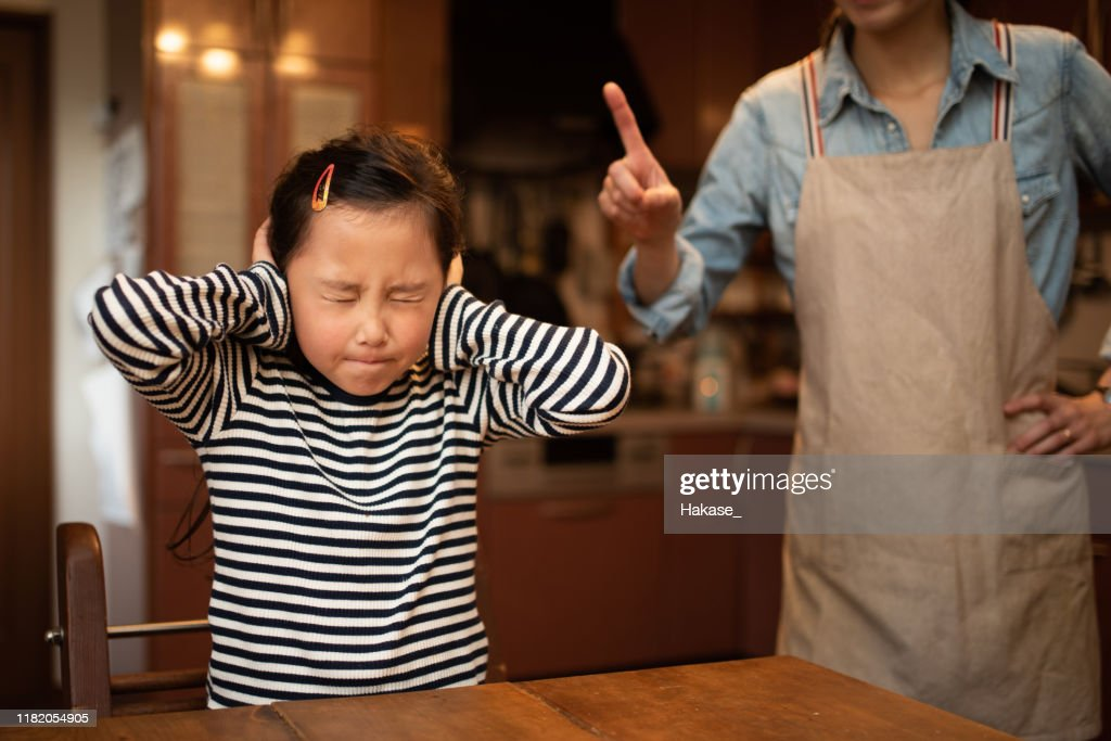 Cute girl angry by mom : Stock Photo