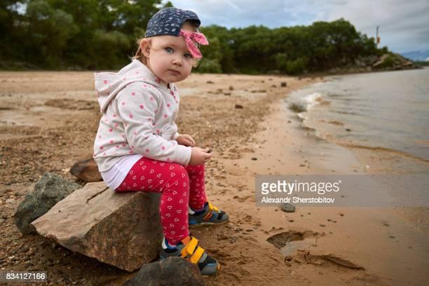 Cute girl at river