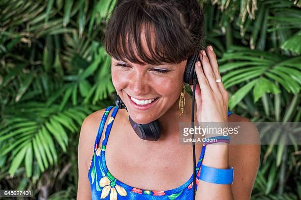 Cute Girl DJ with Headphones On