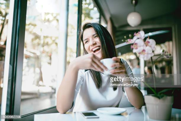 Cute Girl Drinking Morning Coffee With Big Smile