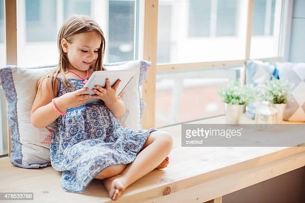 Cute girl enjoying at home.