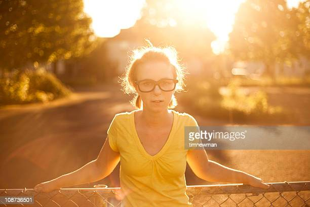 cute girl in empty lot - thick white women stock photos and pictures