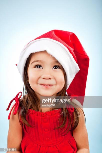 cute girl in santa hat