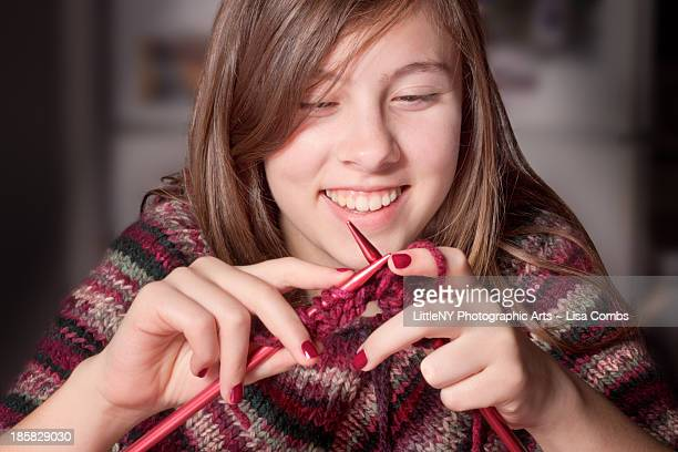 cute girl knitting - one teenage girl only stock pictures, royalty-free photos & images