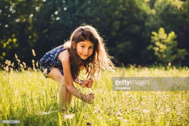 söt flicka utomhus - midsommar bildbanksfoton och bilder