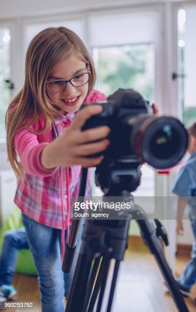cute girl photographer - child prodigy stock pictures, royalty-free photos & images