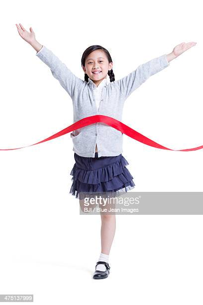Cute girl sprinting