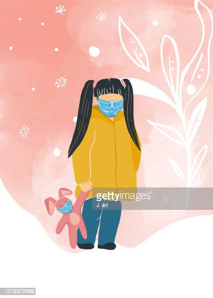 cute girl with a protective face mask. - rabbit mask stock pictures, royalty-free photos & images