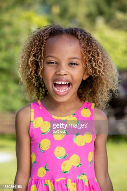 a cute happy little girl - two tone color stock pictures, royalty-free photos & images