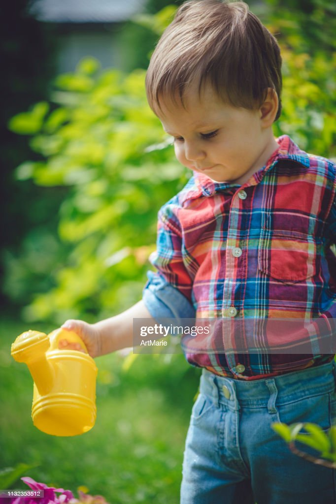 Cute Hy Toddler Boy Watering Plants In The Garden At Summer Stock Photo