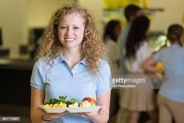 Sexy high school student langsam von cafeteria Speisen