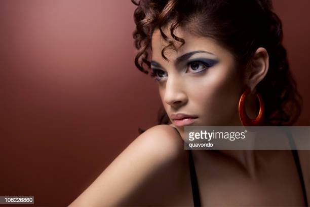 beautiful hispanic woman with dramatic make up, copy space - hoop earring stock pictures, royalty-free photos & images