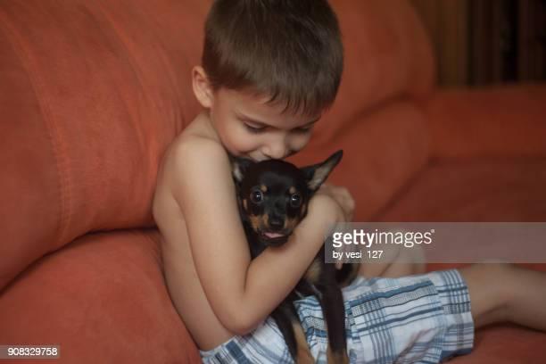 cute little boy hugging and kissing his puppy - pinscher nano foto e immagini stock