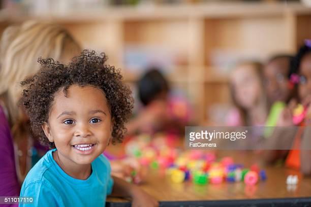 Cute Little Boy in Class