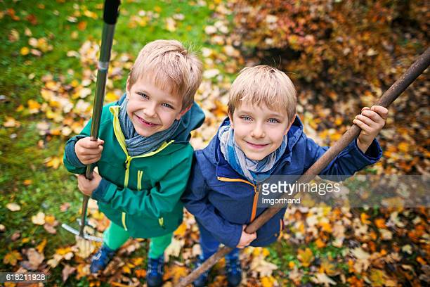 cute little boys raking autumn leaves - rake stock pictures, royalty-free photos & images
