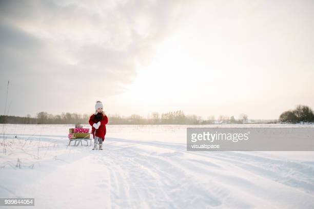 A Cute little girl drags a sled with christmas presents in the sunset