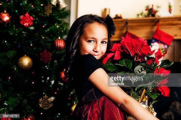 bambina carina con poinsettias - stella di natale foto e immagini stock
