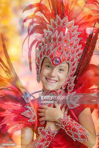cute little girl in carnival costume dancing samba - argentina traditional clothing stock photos and pictures
