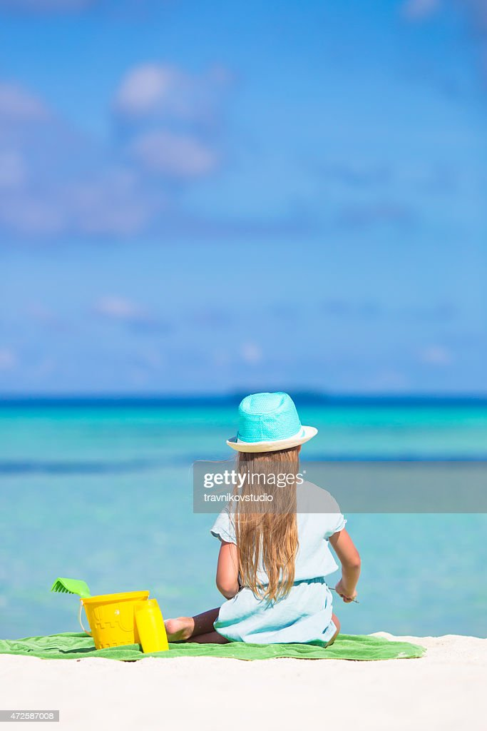 41d9325ce84 Cute Little Girl In Hat At Beach During Summer Vacation Stock Photo ...