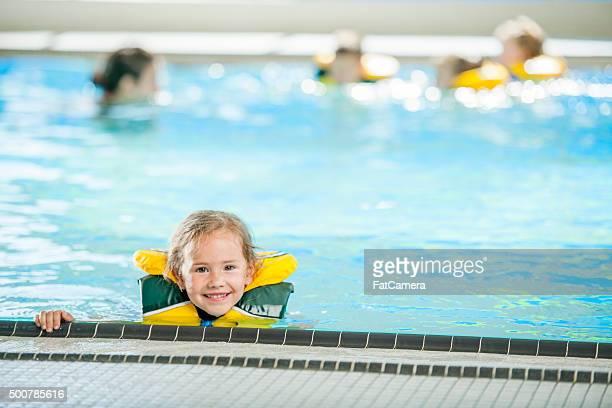 Cute Little Girl in Swim Class