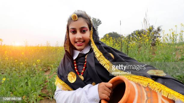 cute little girl portrait in traditional clothing - folk music stock pictures, royalty-free photos & images