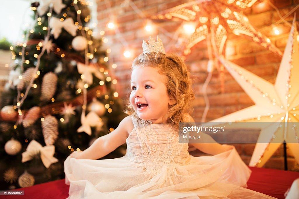 Cute little girl ready for Christmas : Stock Photo