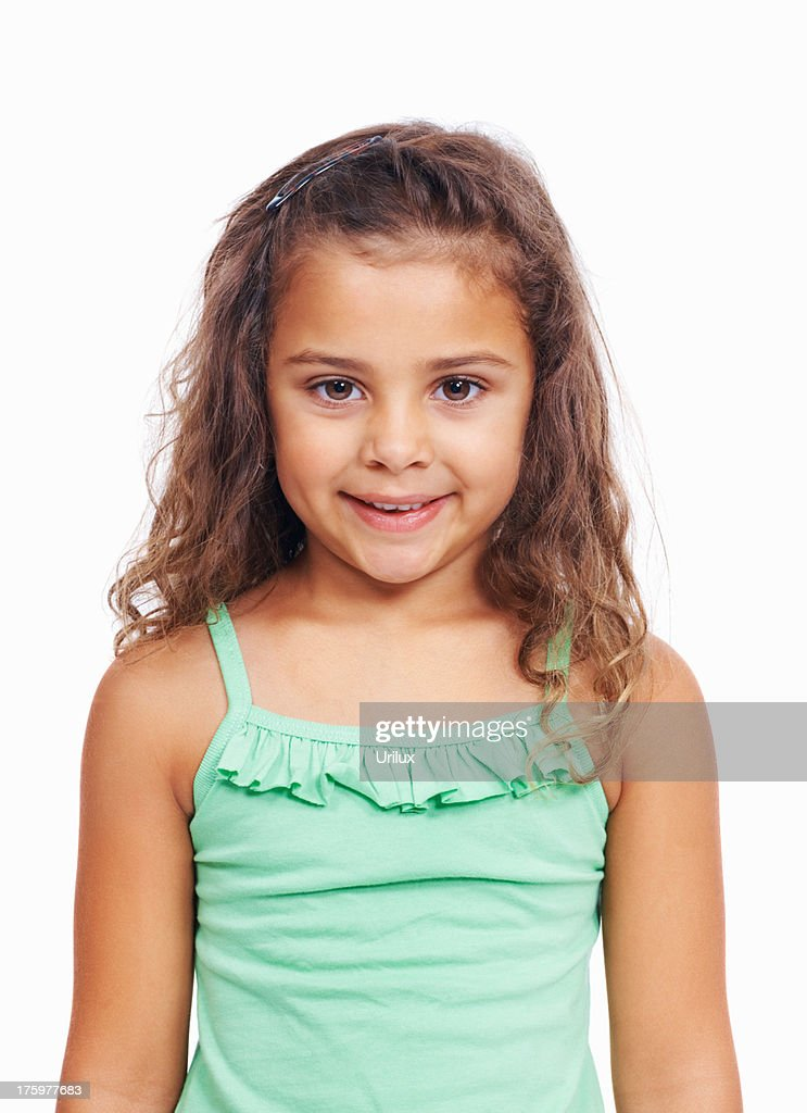 dec124f98ac Cute Little Girl Standing Isolated On White Background Stock Photo ...