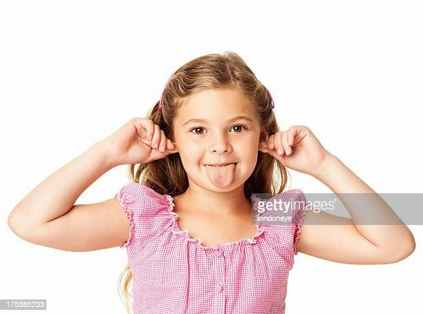Jolie petite fille Taquiner-isolé