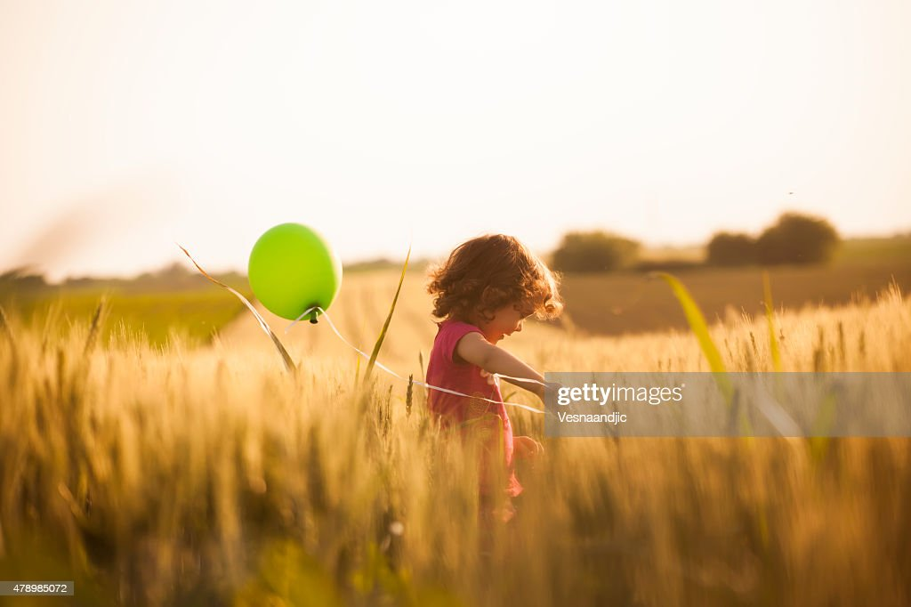 Cute little girl with balloons at field : Stock Photo