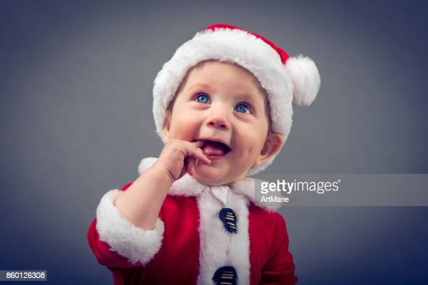 cute little santa - santa face stock pictures, royalty-free photos & images