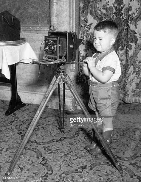 Cute little Spanky MacFarland premier Our Gang kid with an old fashioned camera and cable release