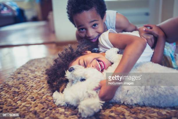 cute, mixed race siblings and their dog - dog stock pictures, royalty-free photos & images
