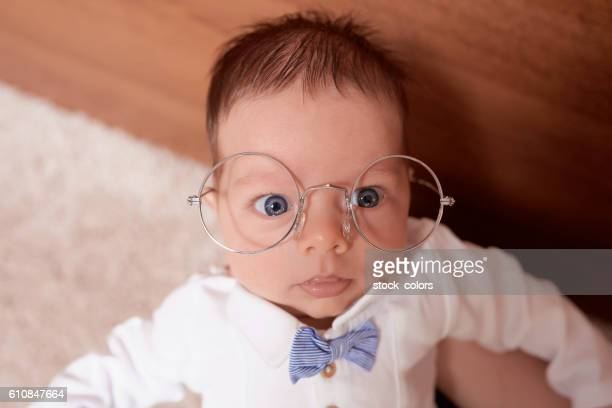 cute nerd baby boy