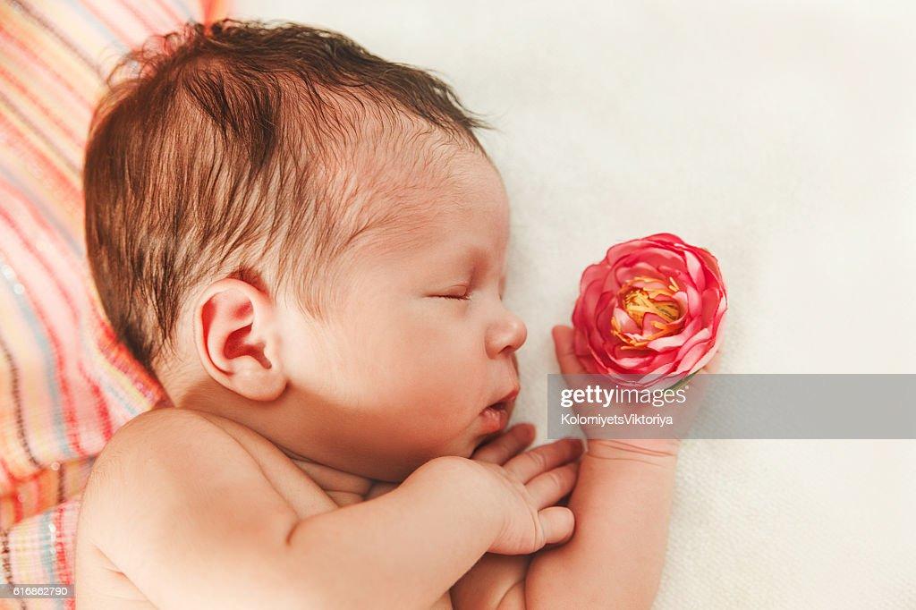 Cute Newborn Baby Girl with Flower Small Touching Hand. : Stock Photo