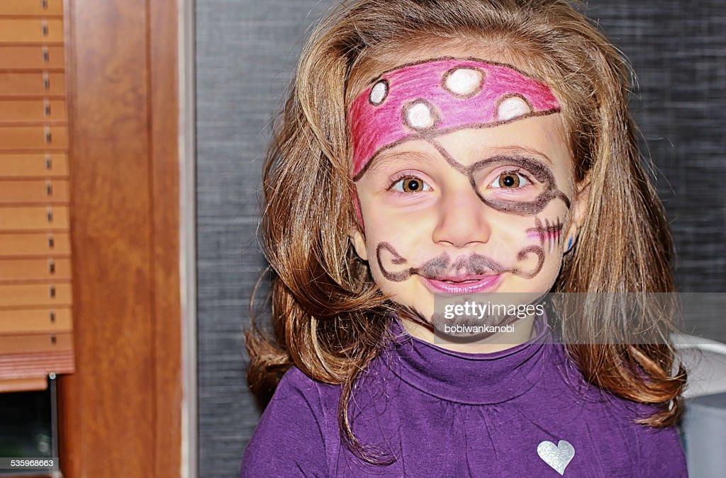 Cute pirate girl. : Stock Photo