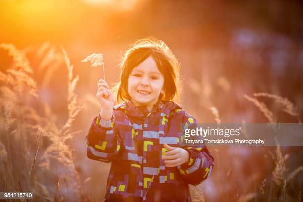 Cute portrait of a boy, playing outdoors on sunset