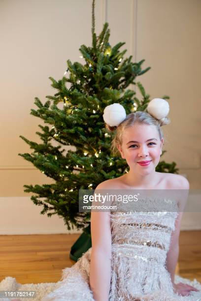 """cute preteen girl holidays portrait. - """"martine doucet"""" or martinedoucet stock pictures, royalty-free photos & images"""