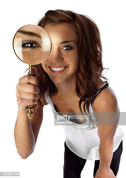 Cute Private-Eye Detective Girl; Looking Closely With Magnifying Glass