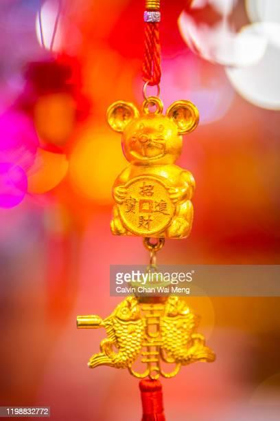 a cute rat design hanging decoration for chinese new year - ratazana imagens e fotografias de stock
