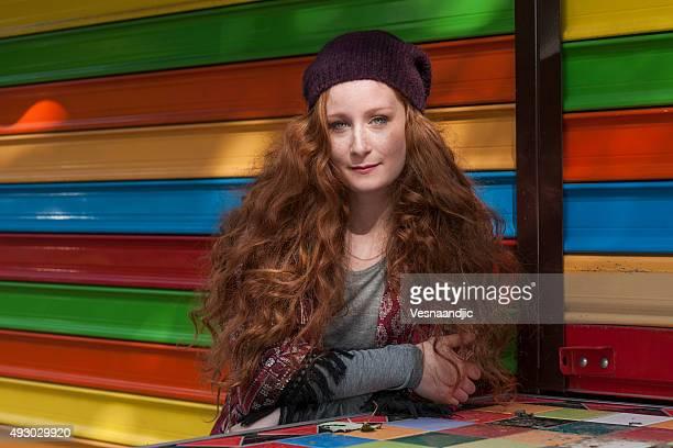 Cute red hair woman posing